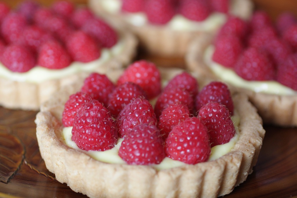 Chocolate-Caramel Tart With Drunken Raspberries And Vanilla Creme ...